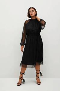 Violeta by Mango semi-transparante kanten jurk met ruches zwart, Zwart
