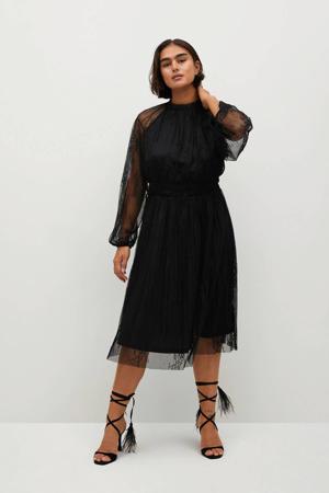 semi-transparante kanten jurk met ruches zwart