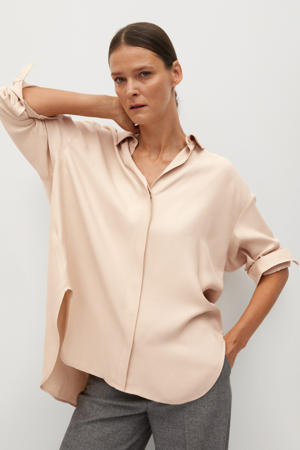 satijnen blouse pastelroze
