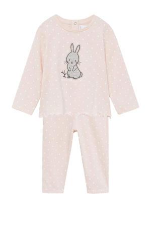 pyjama van biologisch katoen met stippen roze/wit