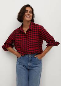 Violeta by Mango geruite blouse rood/ zwart