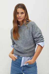 Mango gemêleerde gebreide trui van gerecycled polyester grijs, Grijs