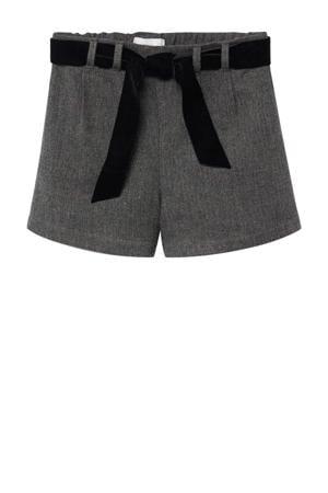 straight fit short met visgraat grijs