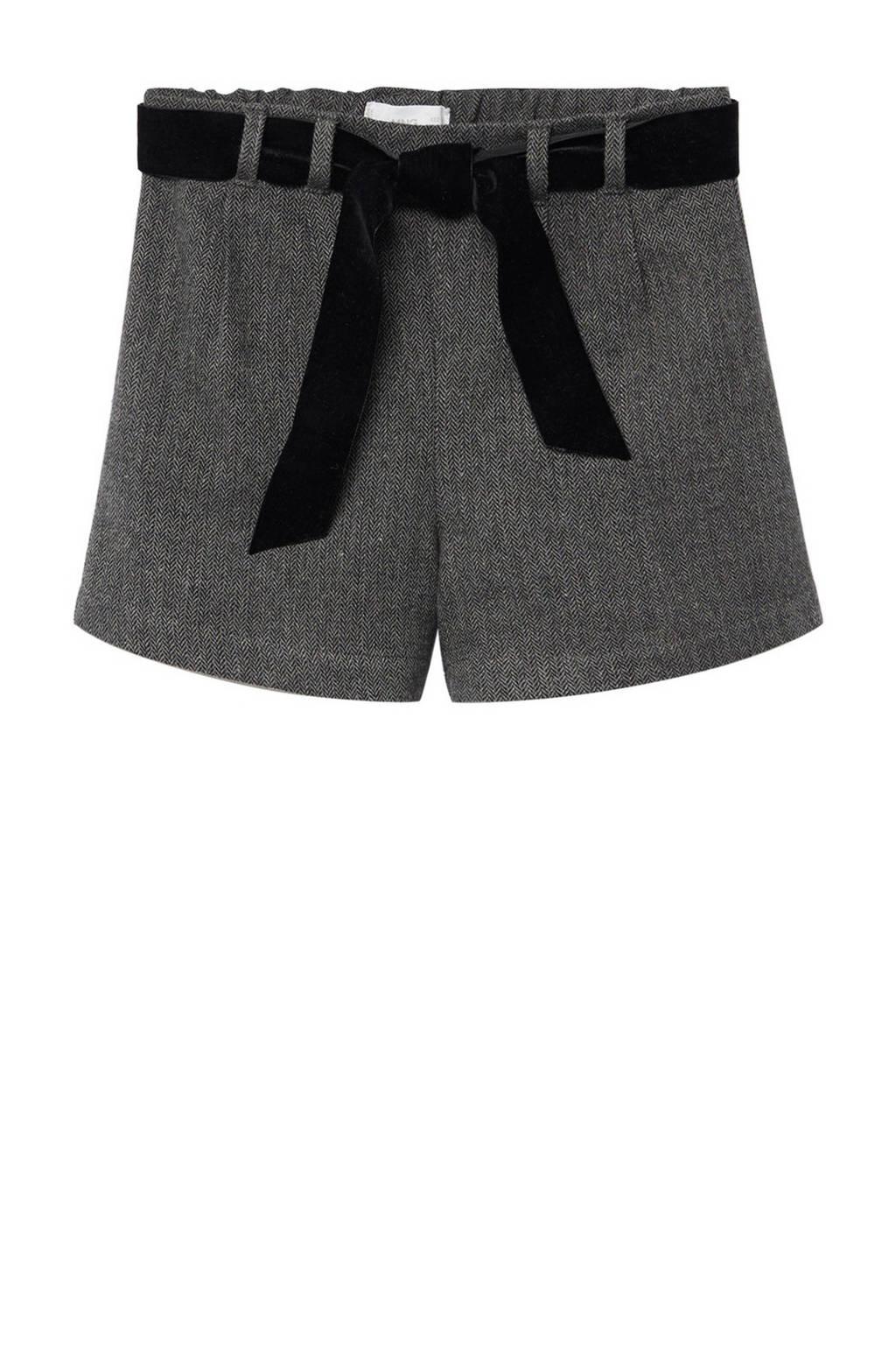 Mango Kids straight fit short met visgraat grijs, Grijs