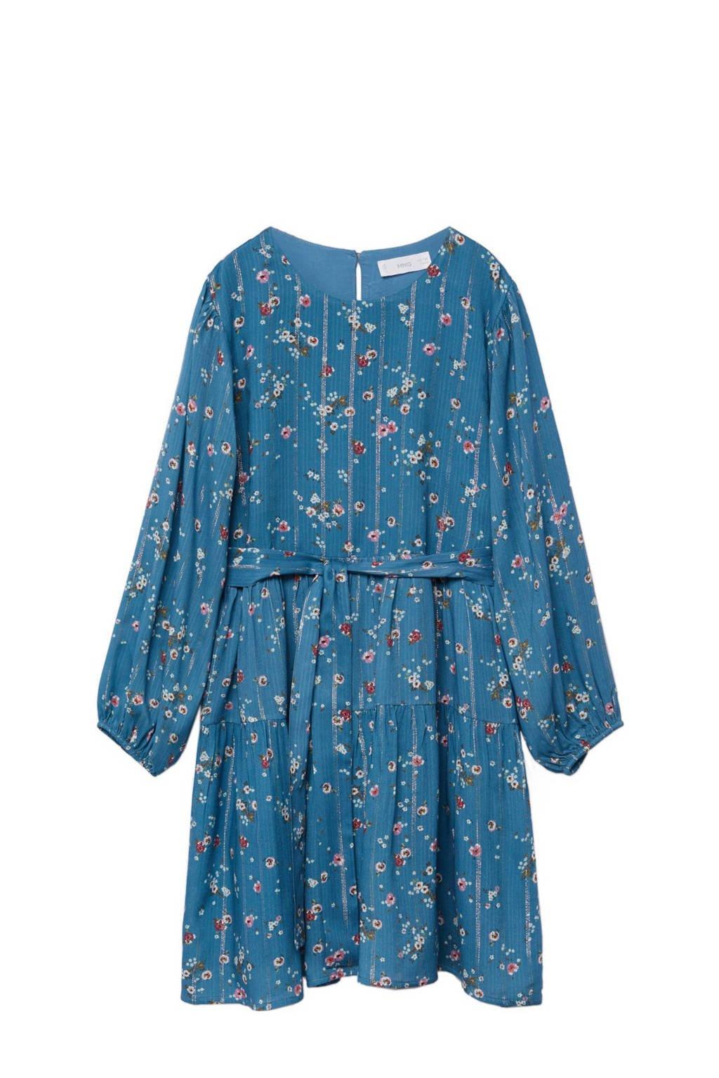 Mango Kids gebloemde jurk blauw/roze, Blauw/roze