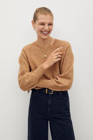 gemêleerde gebreide trui van gerecycled polyester lichtbruin