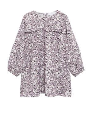gebloemde A-lijn jurk lila/wit