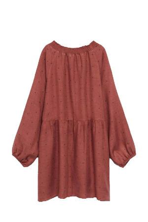 A-lijn jurk met stippen donkerrood