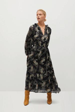 semi-transparante maxi jurk met paisleyprint en ruches zwart