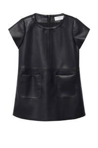 Mango Kids coated jurk zwart, Zwart