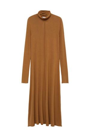fijngebreide jurk middenbruin