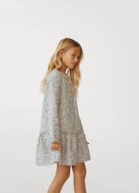 Mango Kids gemêleerde tweed A-lijn jurk offwhite/zwart, Offwhite/zwart