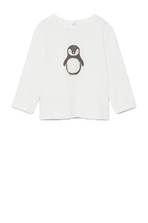 pyjama van biologisch katoen met pinguin print wit/grijs