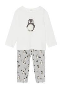 Mango Kids   pyjama van biologisch katoen met pinguin print wit/grijs, Wit/grijs