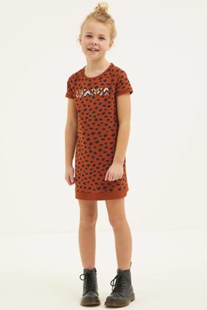jurk met all over print donkerrood/donkerblauw