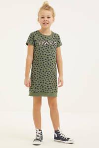 DJ Dutchjeans jurk met all over print army groen/zwart, Army groen/zwart