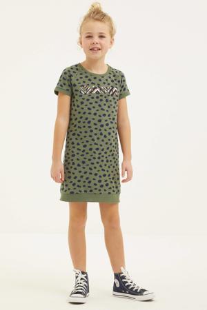 jurk met all over print army groen/zwart