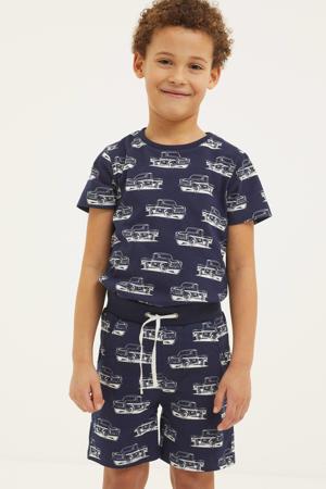T-shirt + korte broek donkerblauw/wit