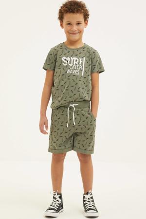 T-shirt + korte broek army groen/zwart/wit