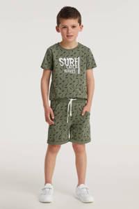 Koko Noko T-shirt + korte broek army groen/zwart/wit, Army groen/zwart/wit