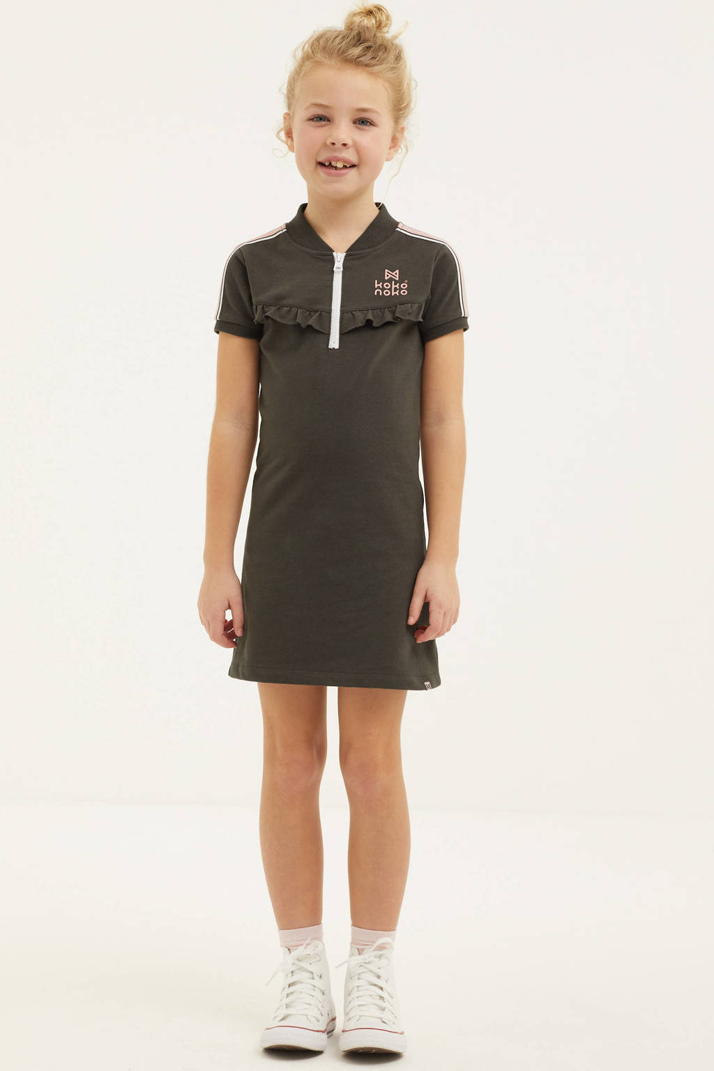 Koko Noko jurk met contrastbies en ruches antraciet/lichtroze/wit, Antraciet/lichtroze/wit