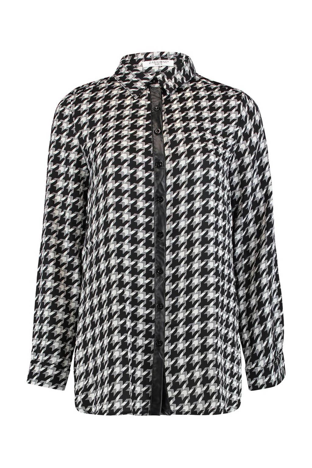 Zabaione blouse Colette met all over print zwart/wit, Zwart/wit