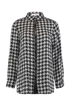 blouse Colette met all over print zwart/wit