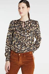 Zabaione blouse Nicole met all over print zwart/goud, Zwart/goud