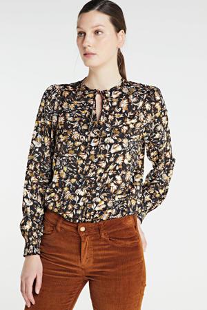 blouse Nicole met all over print zwart/goud