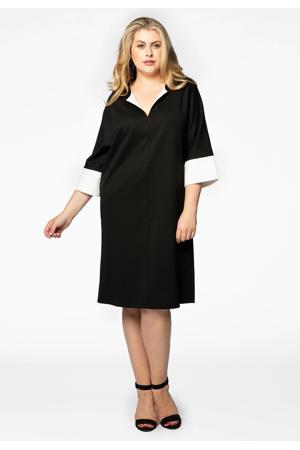 A-lijn jurk met vleermuismouwen zwart/wit