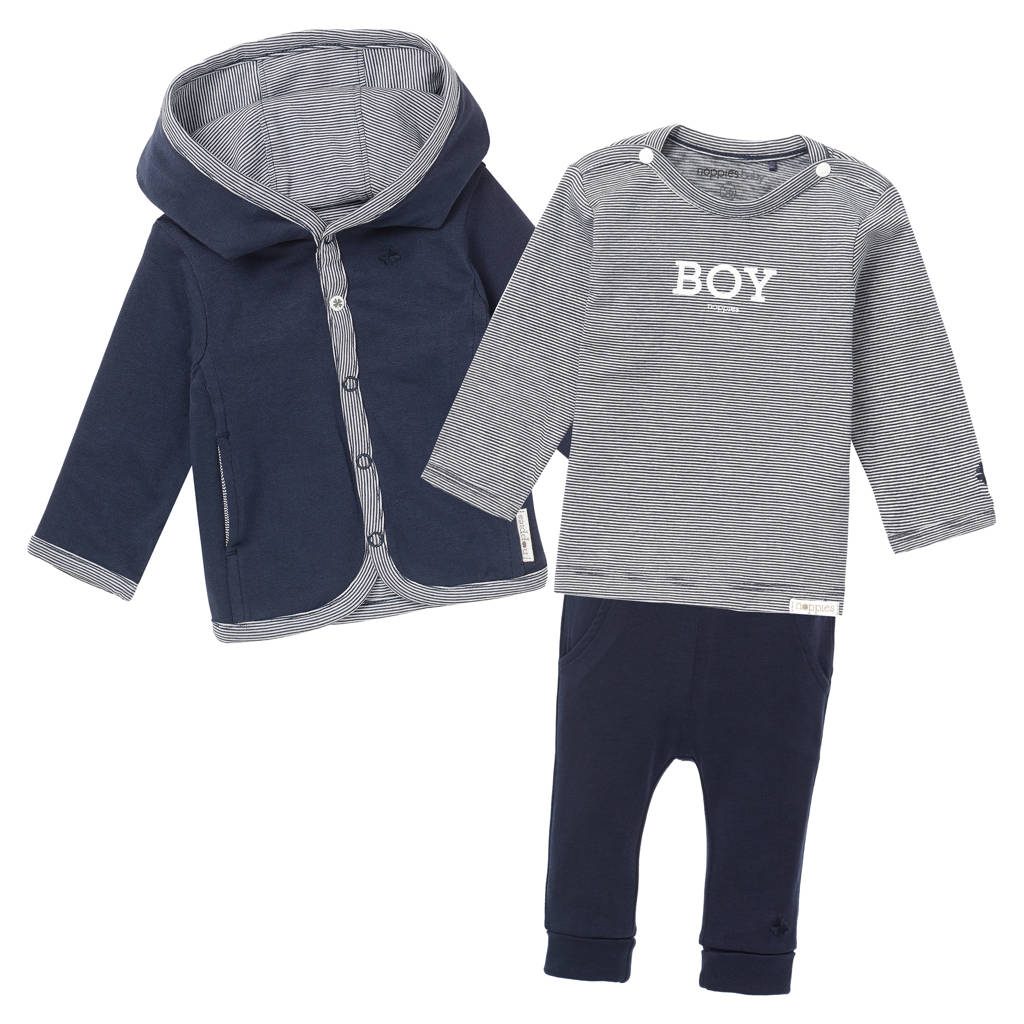 Noppies reversible vest + longsleeve + broek donkerblauw/wit, Donkerblauw/wit
