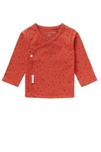 Noppies baby longsleeve Lyoni met biologisch katoen roodbruin, Roodbruin