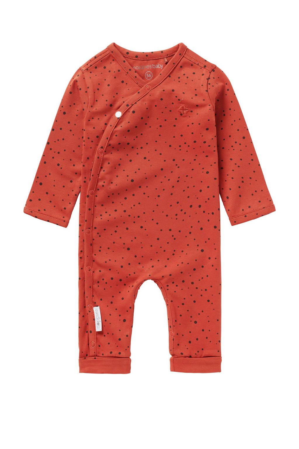 Noppies baby boxpak Noorvik met grafische print en borduursels roodbruin, Roodbruin