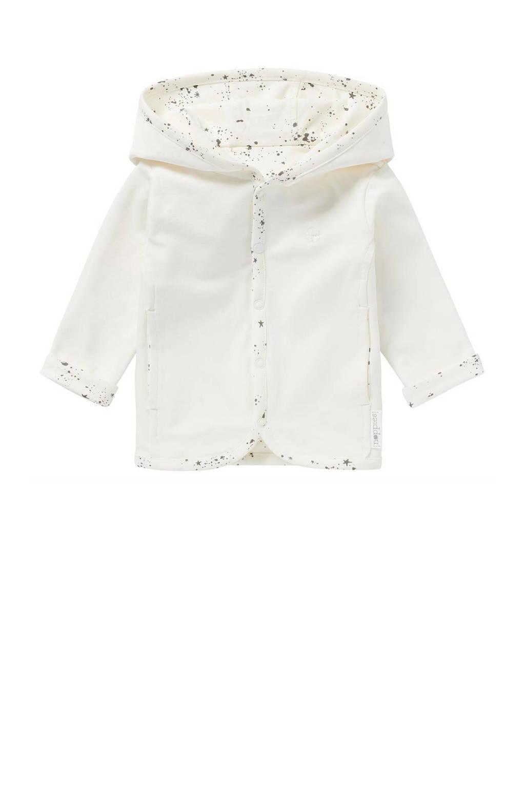 Noppies baby reversible vest Bonny wit/antraciet, Wit/antraciet