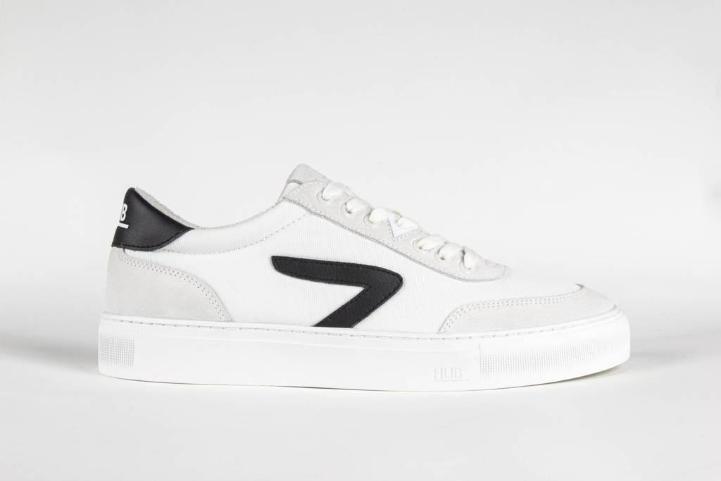 HUB Break Z  suède sneakers wit/zwart, Wit/zwart