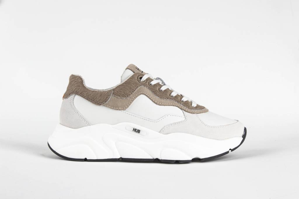 HUB Rock  leren chunky sneakers off white/beige, Wit/beige