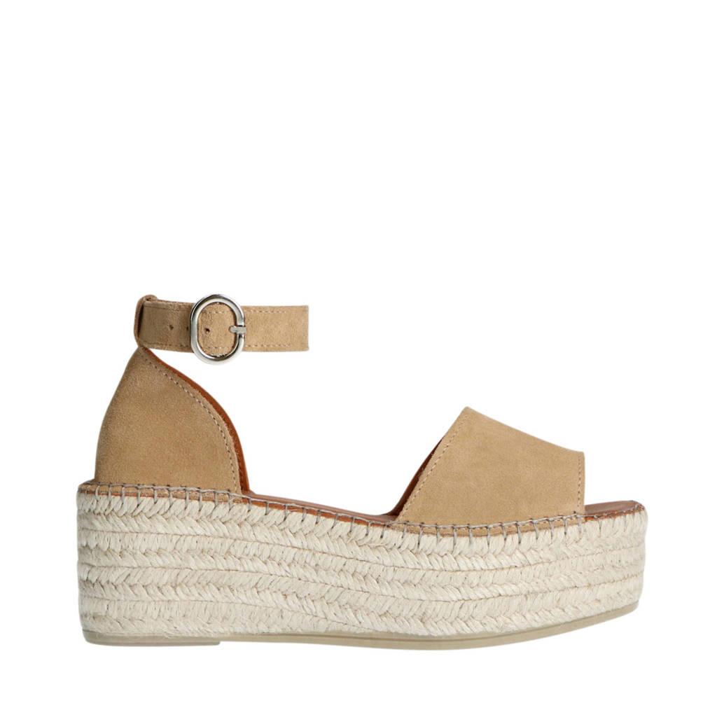 Sacha   suède plateau sandalen beige, Beige
