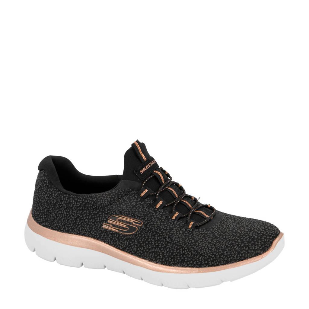 Skechers   sneakers zwart, Zwart/roze