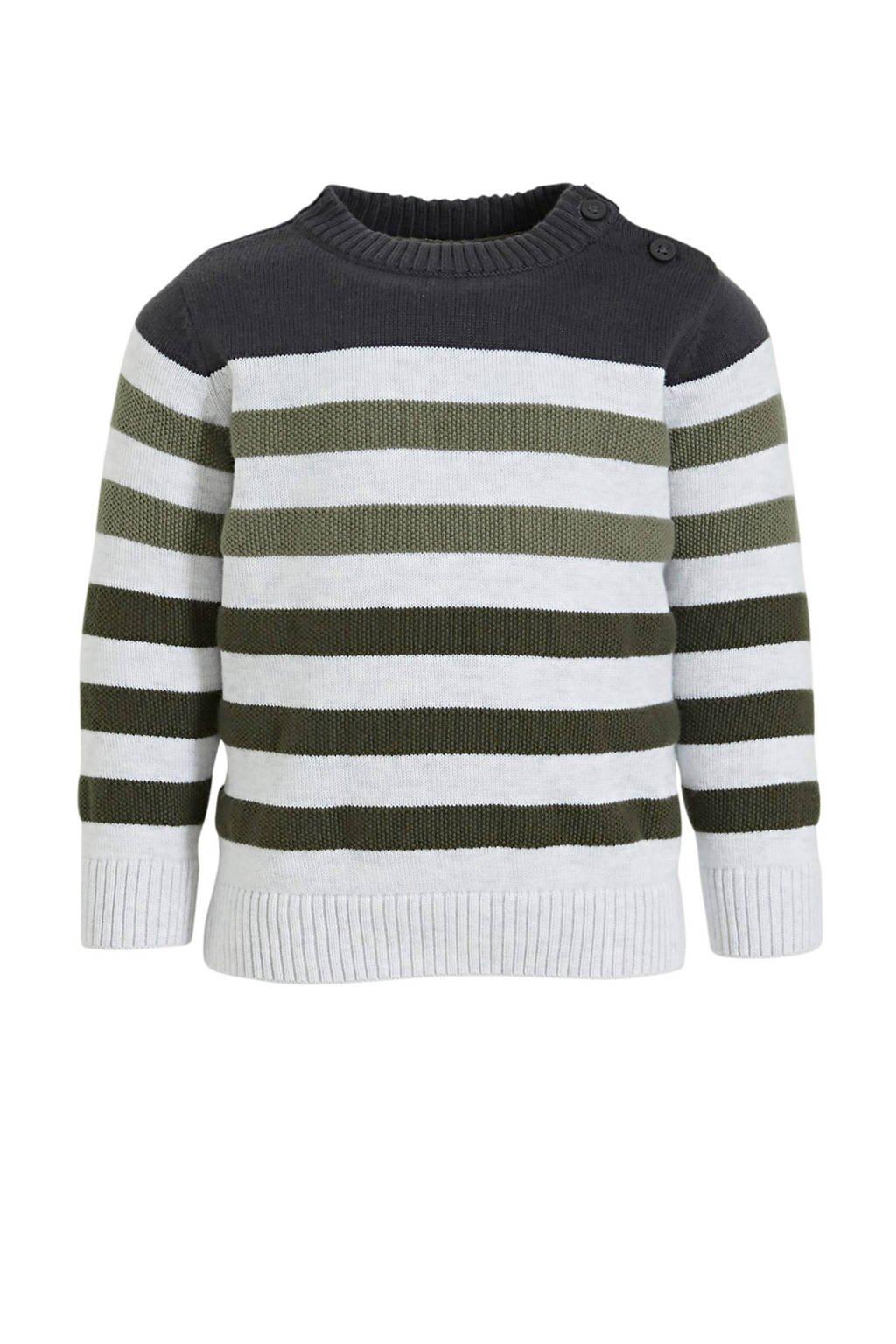 C&A Baby Club gestreepte trui donkergroen/lichtgrijs, Donkergroen/lichtgrijs