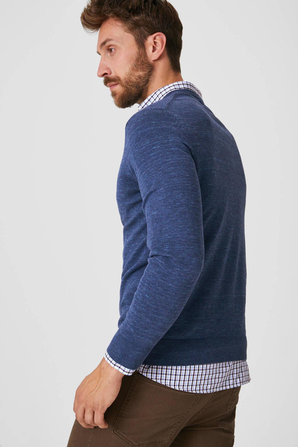 C&A Canda trui met overhemd blauw, Blauw