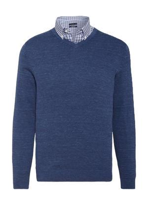 trui met overhemd blauw