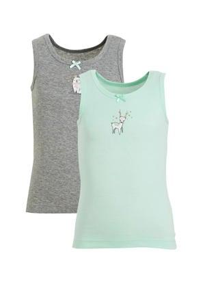 hemd - set van 2 met print mintgroen/grijs