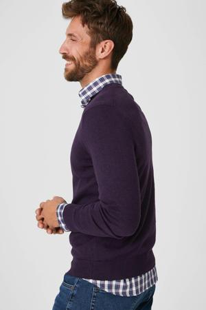 trui met overhemd paars