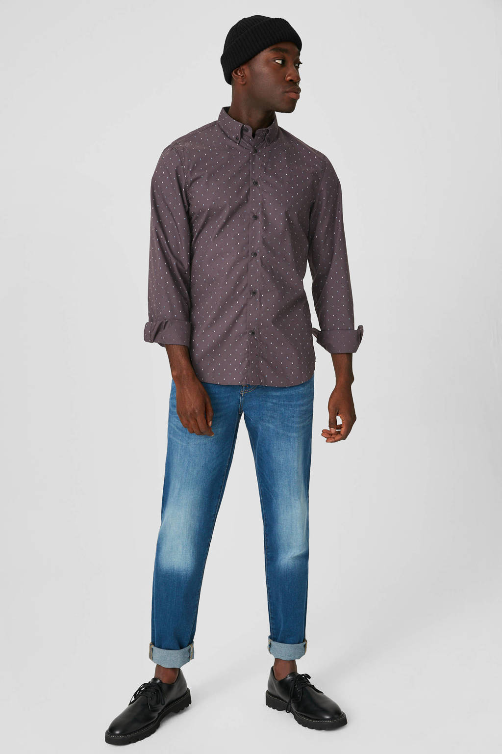 C&A regular fit overhemd met all over print aubergine, Aubergine
