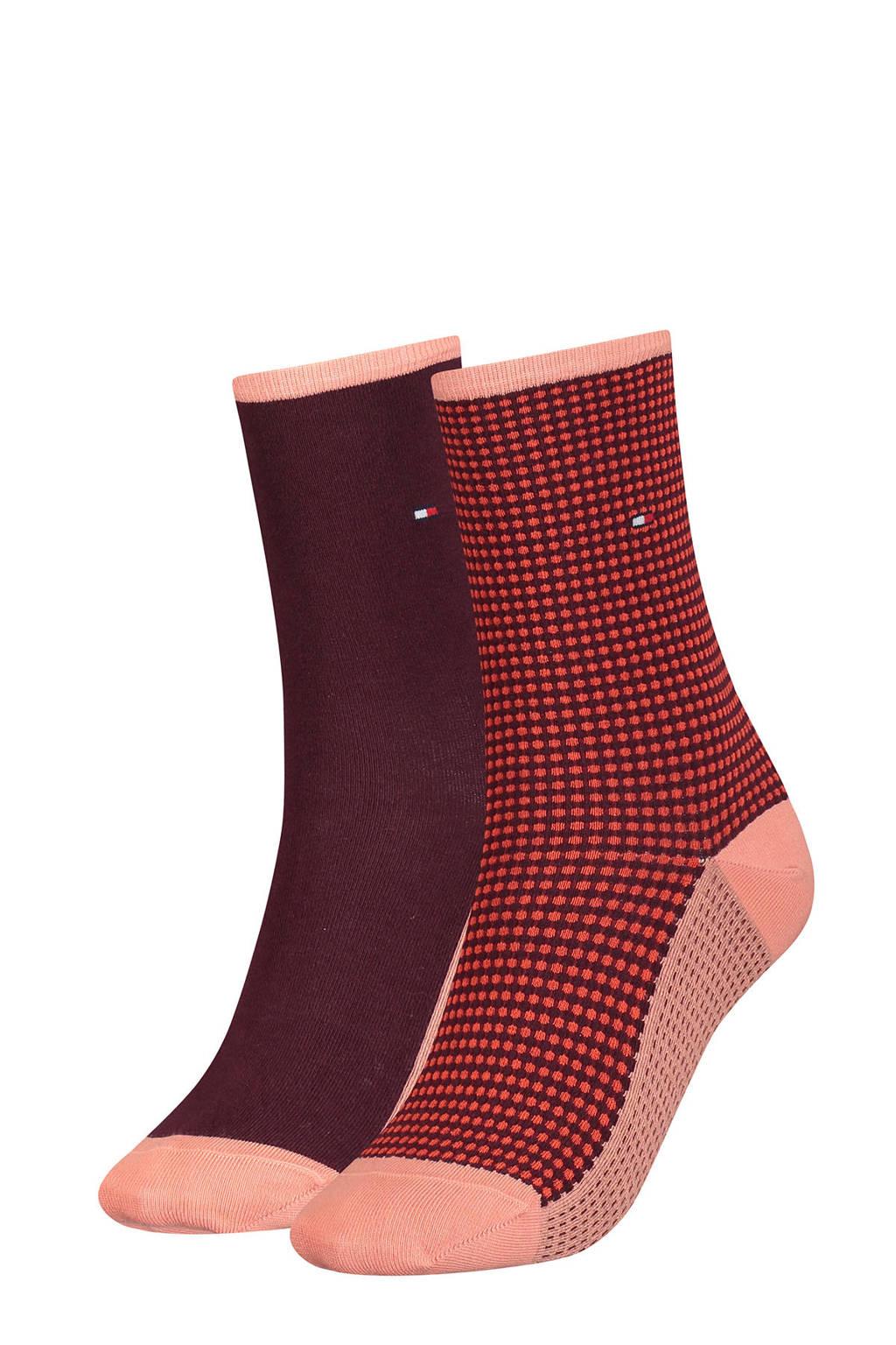 Tommy Hilfiger sokken - set van 2 rood/bordeauxrood, Rood/bordeauxrood
