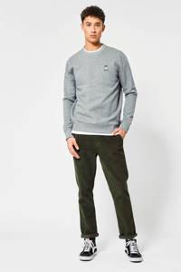 America Today sweater Silas met logo grijs melange, Grijs melange