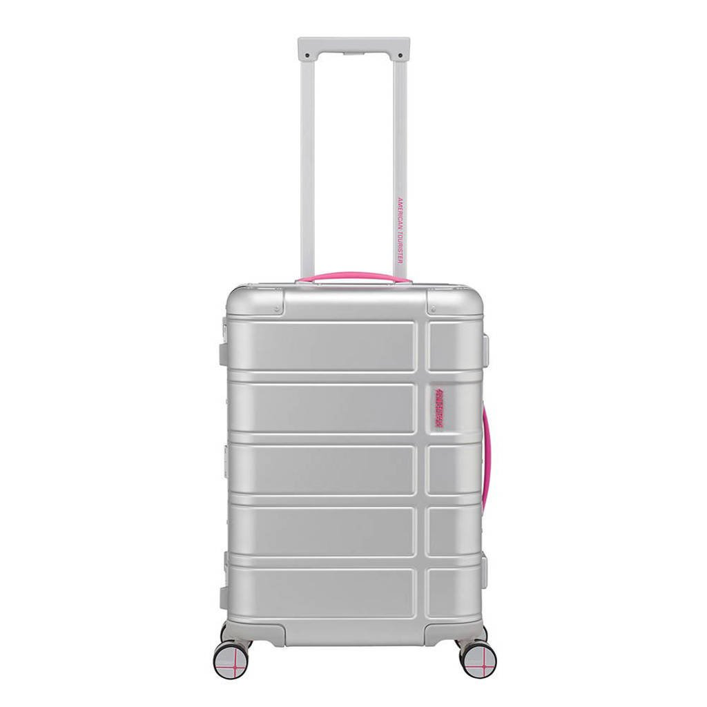 American Tourister  trolley Alumo Spinner 55 cm. fuchsia, Zilver