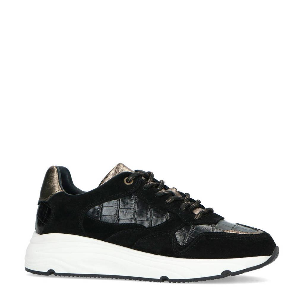 Manfield   suède sneakers met crocoprint zwart, Zwart/metallic