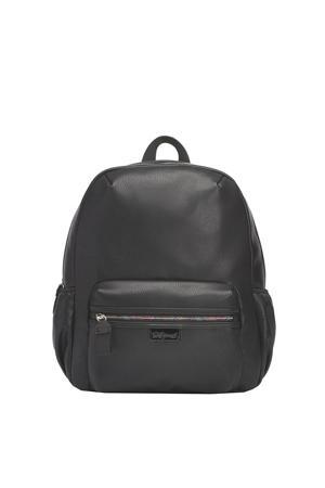 Luna Faux Leather Diaper Backpack zwart