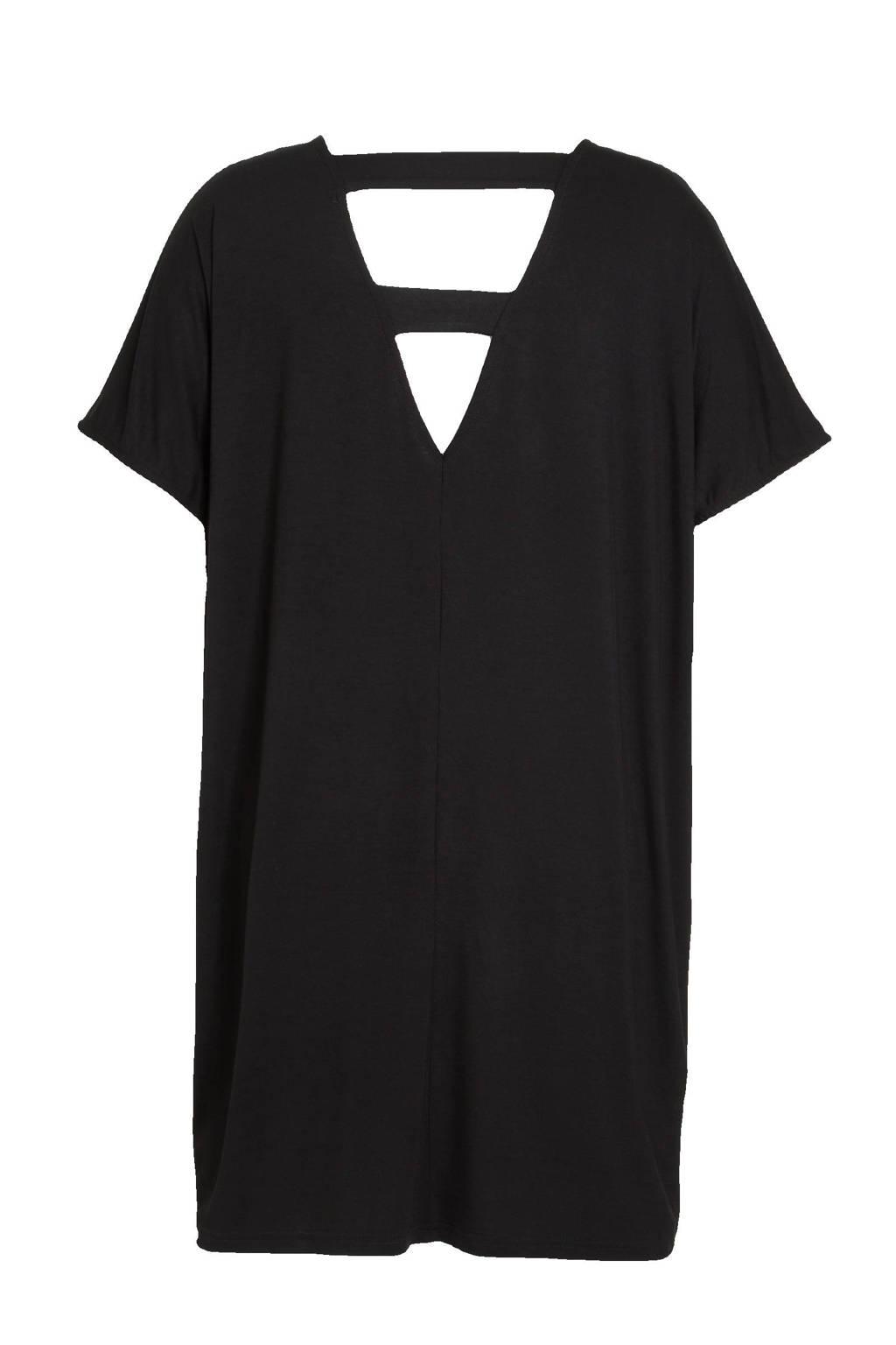 No.1 by OX T-shirtjurk met open detail zwart, Zwart
